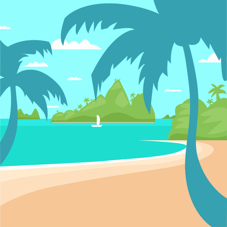 Tropical Beach Island Palm Tree Ocean Summer Vacation Concept Flat Vector Illustration