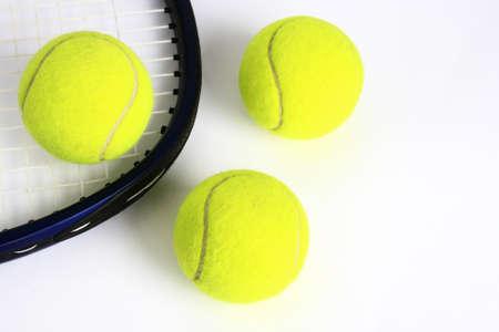 Tennis racket and balls. photo