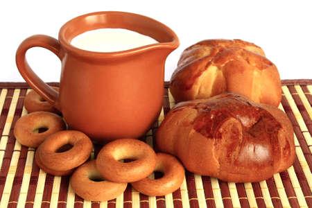 Bread and milk photo