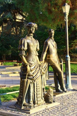 Writer Anton Chekhov and Lady with dog - Monument dedicated to russian writer Chekhov, Embankment of Yalta, Crimea, Ukraine Stock Photo - 16504263