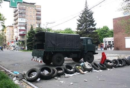 barricades: MARIUPOL, UKRAINE - MAY 11, 2014  The barricades erected, federalization of Ukraine supporters outside Kazantsev