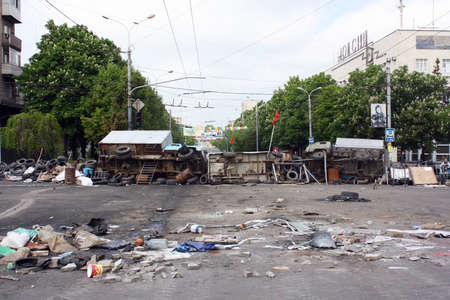 barricades: MARIUPOL, UKRAINE - MAY 11, 2014  The barricades erected, supporters of the federalization of Ukraine Lenin Avenue  Editorial