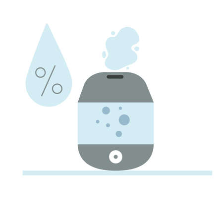 Humidifier with drop and percent sign. Health care concept, air freshener at home or office. Flat vector illustration.