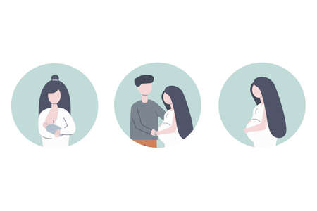 Set of three icons: woman feeding a baby with breast, husband hugs his pregnant wife and pregnancy woman. Flat modern vector illustration.