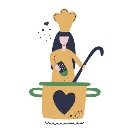 The cook girl cooks in a large saucepan, salts and holds big ladle. Modern flat vector illustration. Cooking classes.