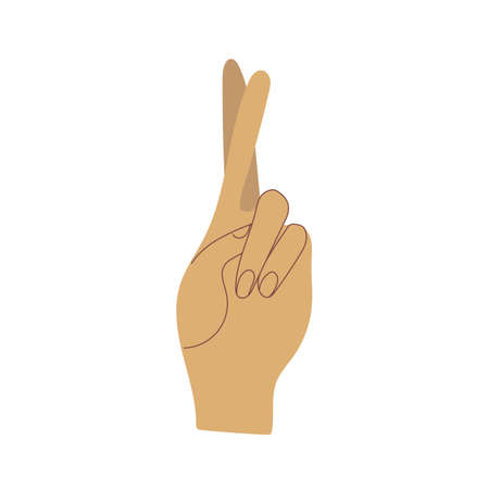 Hand showing gesture. Cross fingers. Flat vector illustration. Isolated on white background. Symbol of good luck.