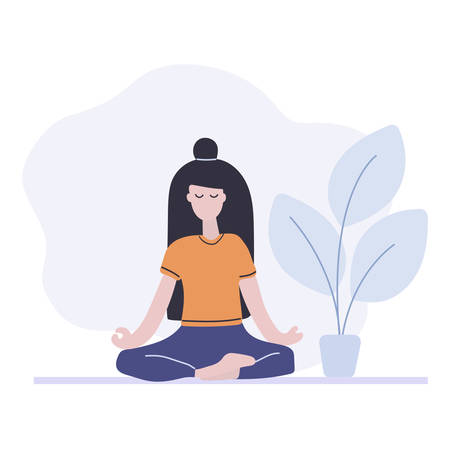 Woman sitting in the yoga pose, lotus position. Meditation at home. Flat vector illustration. Hand drawn concept. Illustration