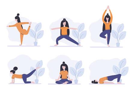 Set of women standing in yoga pose, fitness exercise, pilates. Sport at home. Flat vector illustration. Illustration