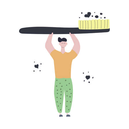 Man in pajamas holds a large toothbrush. Time to brush your teeth. Hand drawn concept. Flat vector illustration. Ilustracja
