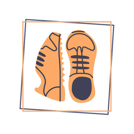One pair of sport shoes in the frame, time to run and walk. Hand drawn flat vector illustration. 向量圖像