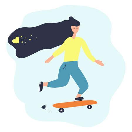 Girl with long hair rides a skateboard. Flat vector illustration, summer, sport.