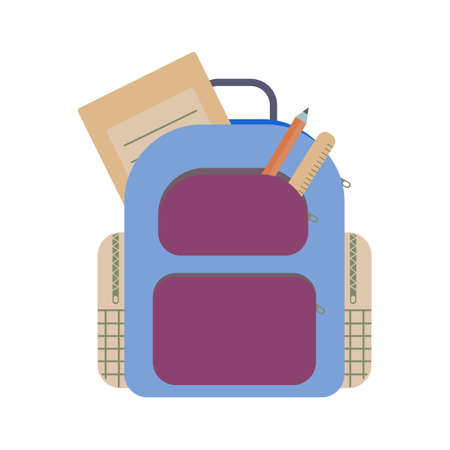 School bag with copybook, pencil, ruler. Back to school essentials for elementary grade concept. Flat illustration. 일러스트