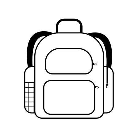 School bag icon in black. Back to school concept. Essentials for elementary grade.