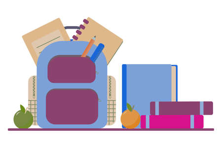 School bag with copybook, pencil, ruler and books. Back to school essentials for elementary grade concept. Flat illustration. Ilustracja