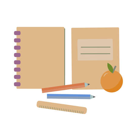 Notebook, exercise book, copybook, ruler, orange and pencils. Back to school essentials for elementary grade or education concept. Flat illustration.