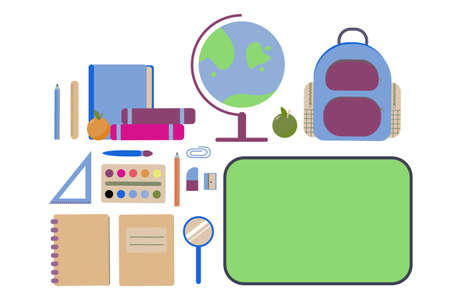 Set of school elements. Back to school, everything you need for primary school concept.