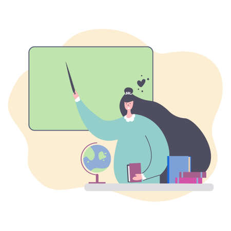 Teacher woman stands with a pointer in her hand at the blackboard, at a table with globe and textbooks. Back to school, favorite work concept. Teachers day, education, studying, lesson. Flat design.