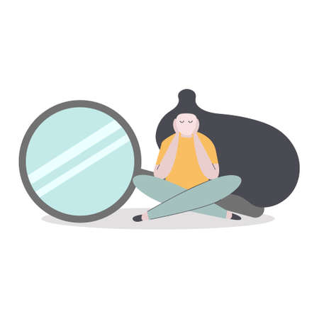 Nothing was found for your search, page not found 404 error, use website concept. Girl sits upset with a large magnifying glass behind her. Flat illustration.