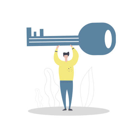 Man holding large key in his hands. Flat illustration. Success concept or business. 向量圖像