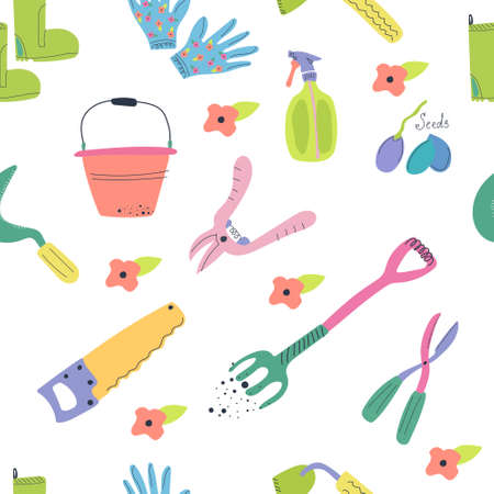 Hand drawn seamless pattern of garden tools. Cute and bright flat illustration. Stock Illustratie