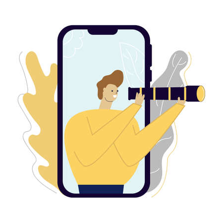 Cute and fun man hold telescope in his hands on the smartphone screen. Search, seek, look concept. 向量圖像