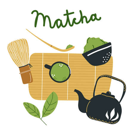 Set of Matcha tea items. Hand drawn flat illustration. Tea pot, whisk, cup, leaves, bamboo spoon.