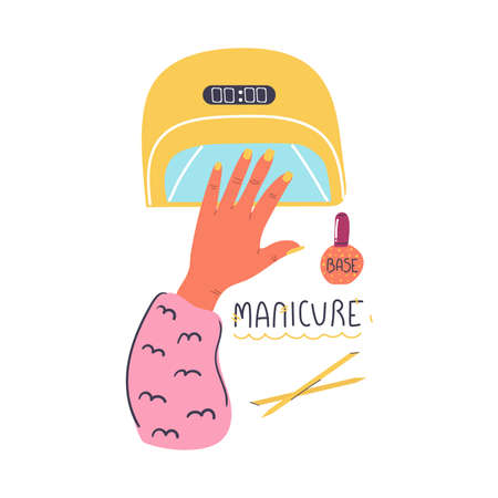 Hand in the lamp for drying gel Polish. Manicure, nail care concept. Hand drawn design. Flat illustration.