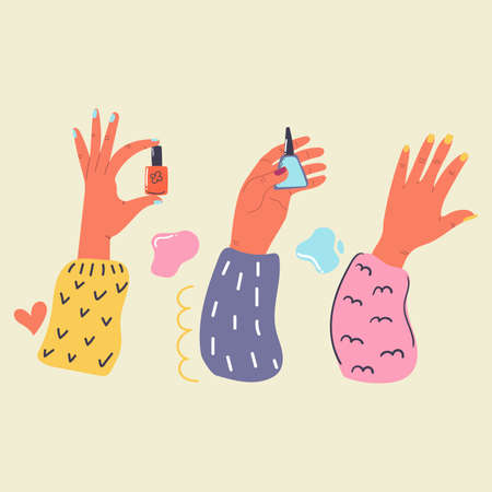 Women's hands with painted nails hold nail Polish. Manicure. Flat illustration. Beauty and care concept. 矢量图像