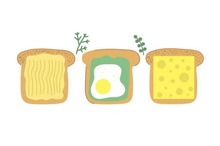 Hand drawn slice of bread, tasty toast with butter, fried egg, avocado and cheese. Modern flat illustration. Breakfast concept.
