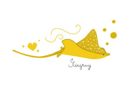 Hand drawn stingray, manta ray, eagle ray. Underwater concept. Flat illustration.