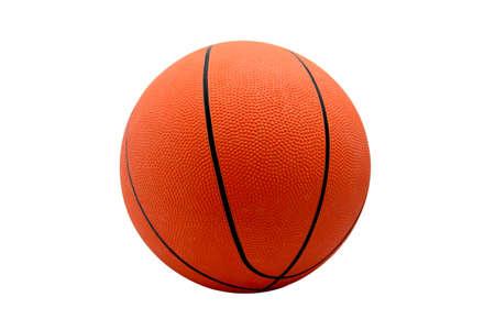 Orange rubber ball for basketball on white background