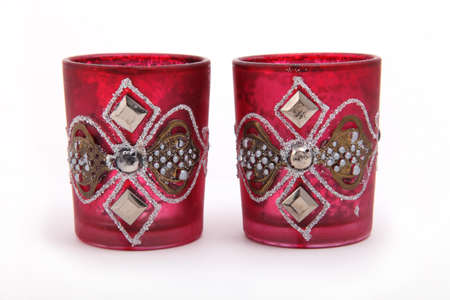 Red Glassful cups for oriental drinks