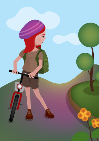 redhair: girl is standing with her bike on the road Illustration