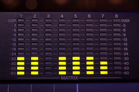 Professinal Audio Mixing Desk/ console Display with vu indicators, matrix led
