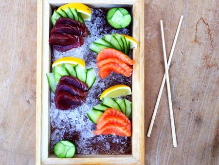 comida japonesa: Sushi Plate With Chopsticks Foto de archivo