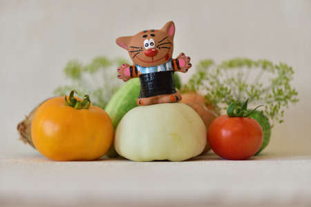 Composition with vegetables and cat Stock Photo