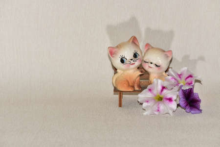 Kittens and flowers Stock Photo