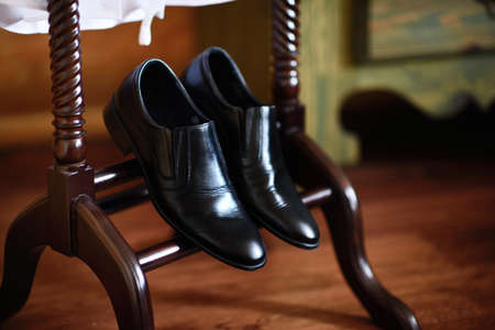Black shoes for the groom Stock Photo
