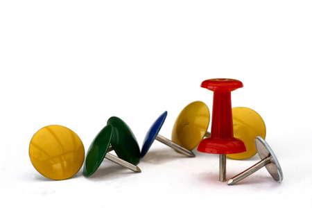 Thumb tacks close-up isolated on white background Stock Photo