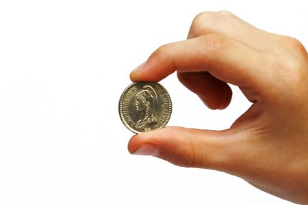 economize: Photo of the coin in a mans hand on white background