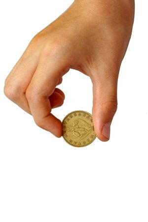 miserly: Photo of the coin in a hand on white background