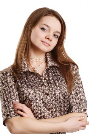 Image of a young girl with hands clasped together Stock Photo - 4545868