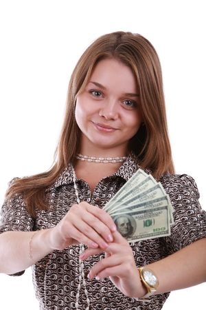 Young girl holding a fan of American dollar bills photo