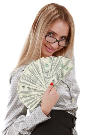 Attractive girl holding a fan of American dollar bills photo