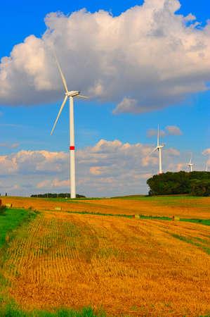 eolian: wind turbines in the fields Stock Photo