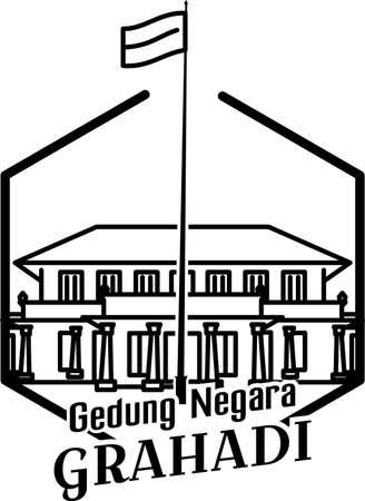 Illustration of the grahadi state building in Surabaya Illustration