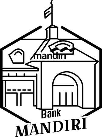 illustration of building, Mandiri bank Surabaya Illustration