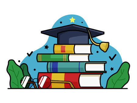 Happy World Teachers Day Illustration, illustration Toga Hat with Glasses and books