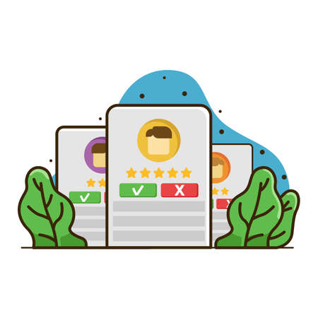 Rated account illustration, account trusted web and apps illustration