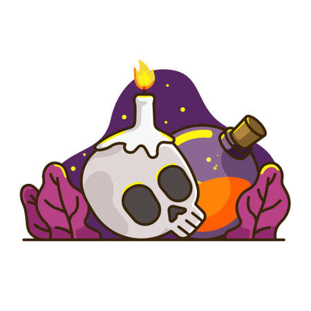 illustration of a skull candle with a witch's potion. gripping halloween with a dark sky. halloween graphic resource for banner and UI design